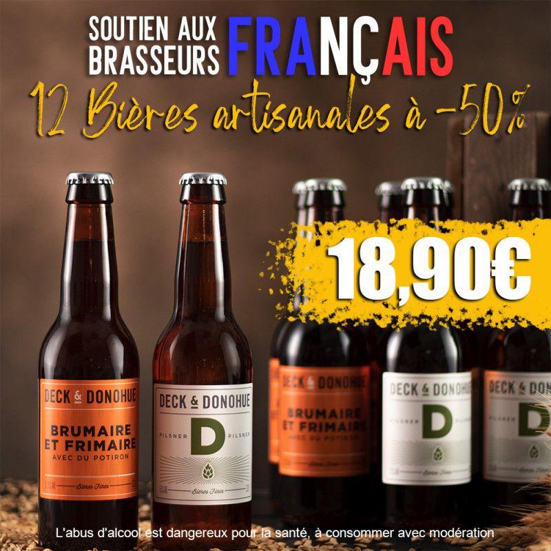 Pack de 12 bières Deck & Donohue Soutien aux Brasseurs Français Ale & Lager (12x33 cl) - Bieres.com