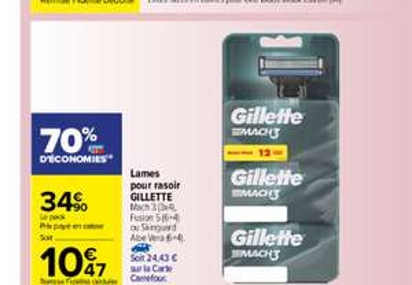 Lot de 10 lames Gillette pour rasoir fusion 5 (ou Skinguard Aloe Vera ou 12 lames pour Mach 3) - Via 24,43€ sur carte de fidélité