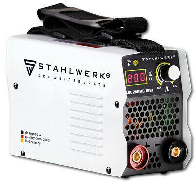 Poste à souder Stahlwerk ARC 200 MD IGBT inverter / MMA 200A + Jeu d'électrodes, Câbles 5M, Marteau, Brosse métallique et Masque