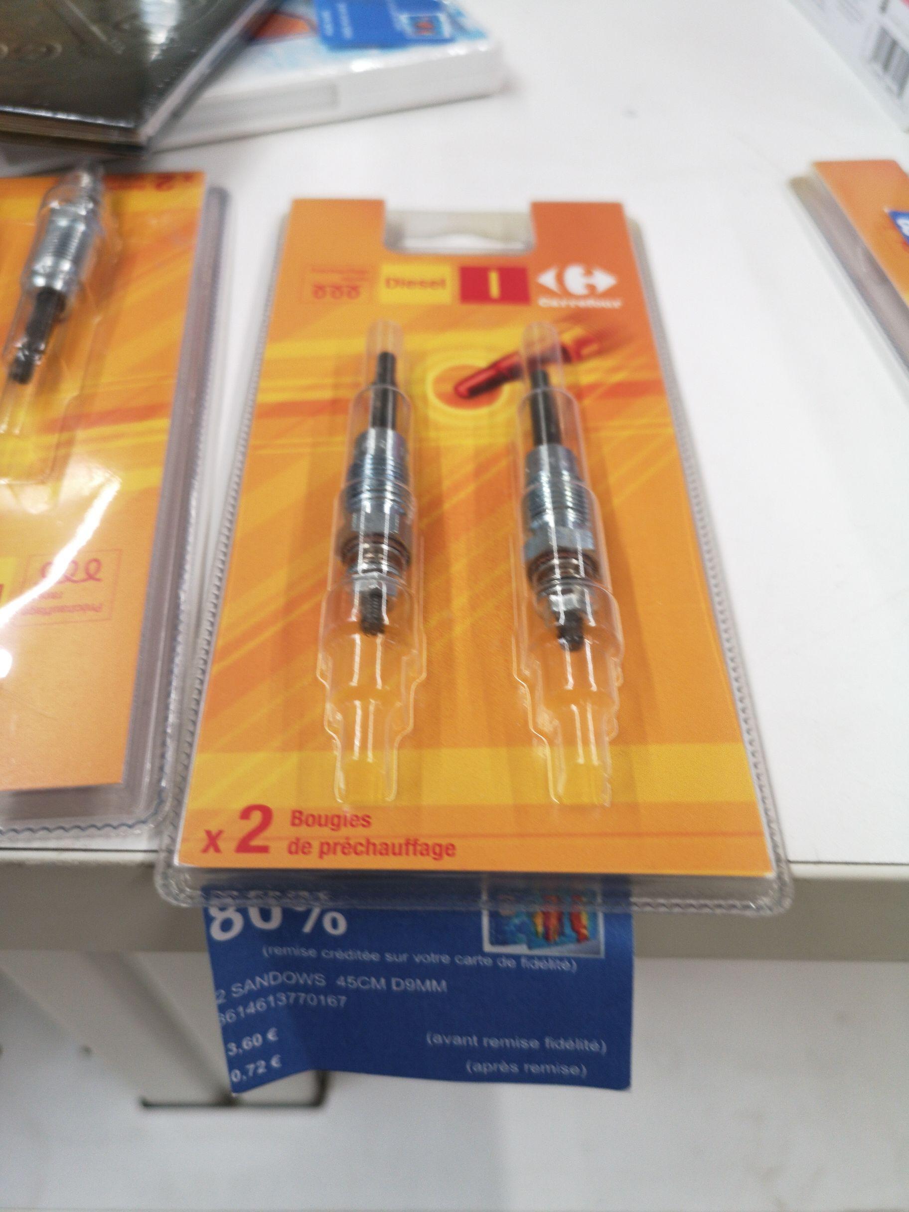 Pack de 2 Bougies de préchauffage Carrefour (Via 2.88€ sur Carte Fidélité) - Vannes (56)