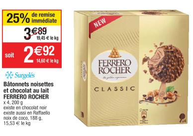 Bâtonnets noisettes et chocolat au lait Ferrero Rocher - 200g