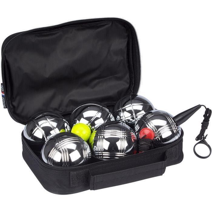 Set 6 boules de pétanque acier chromé GetGo - différents motifs