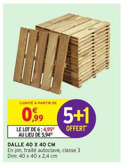 Lot de 6 dalles pour terrasse en pin autoclavé classe 3 - 40 x 40 (Magasins participants)