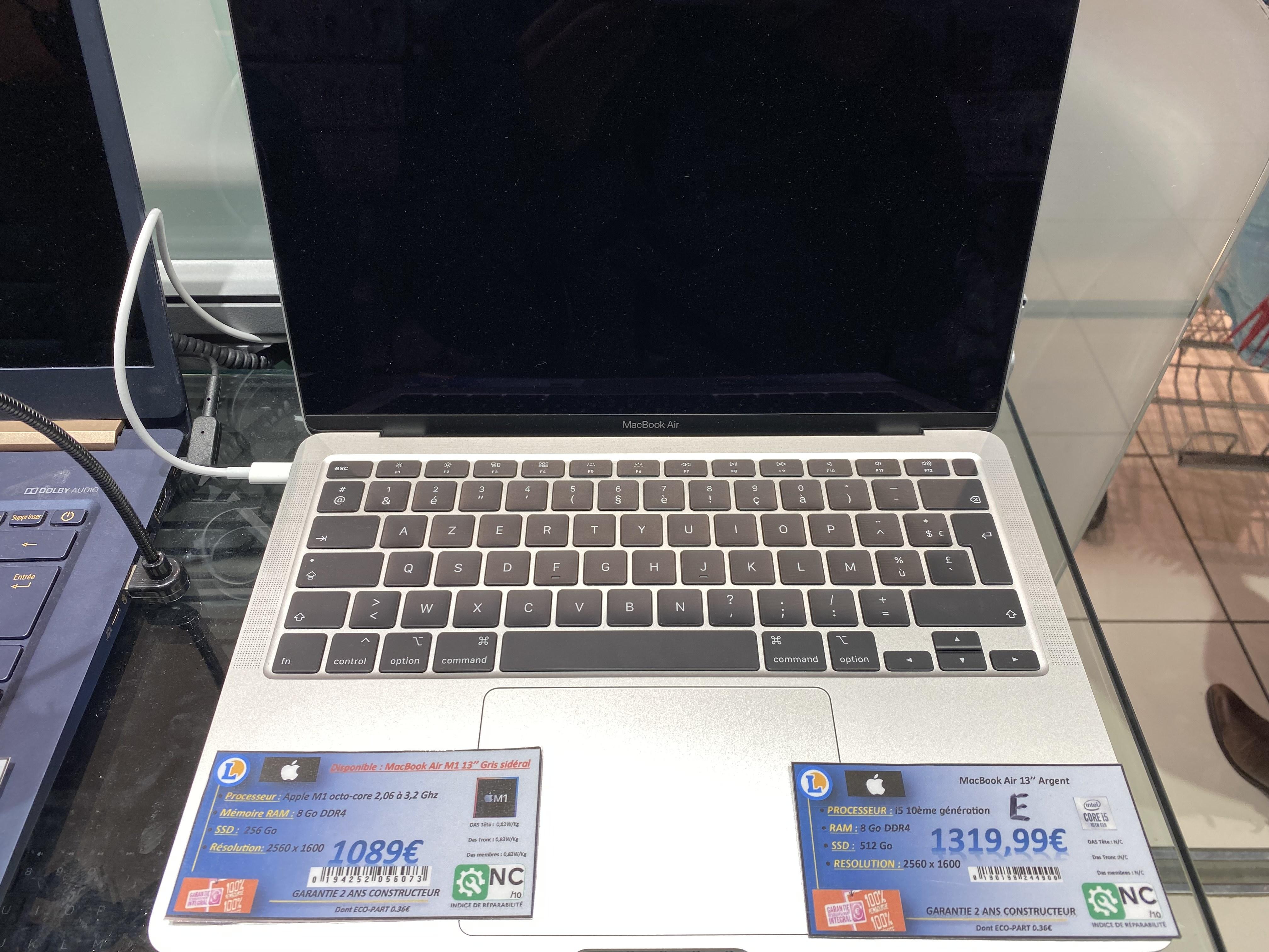 """PC Portable 13"""" MacBook Air 13 M1 - 8Go RAM, SSD 256Go Gris sidéral (Lapardieu Clermont-Ferrand 63)"""