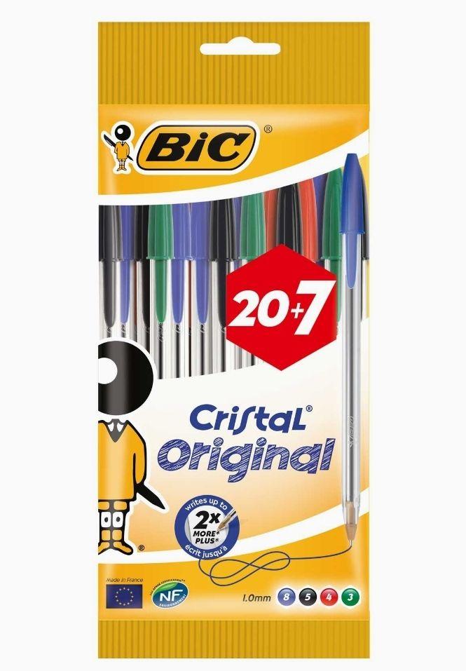 Pochette 27 stylos BIC Cristal Original - Couleurs assorties
