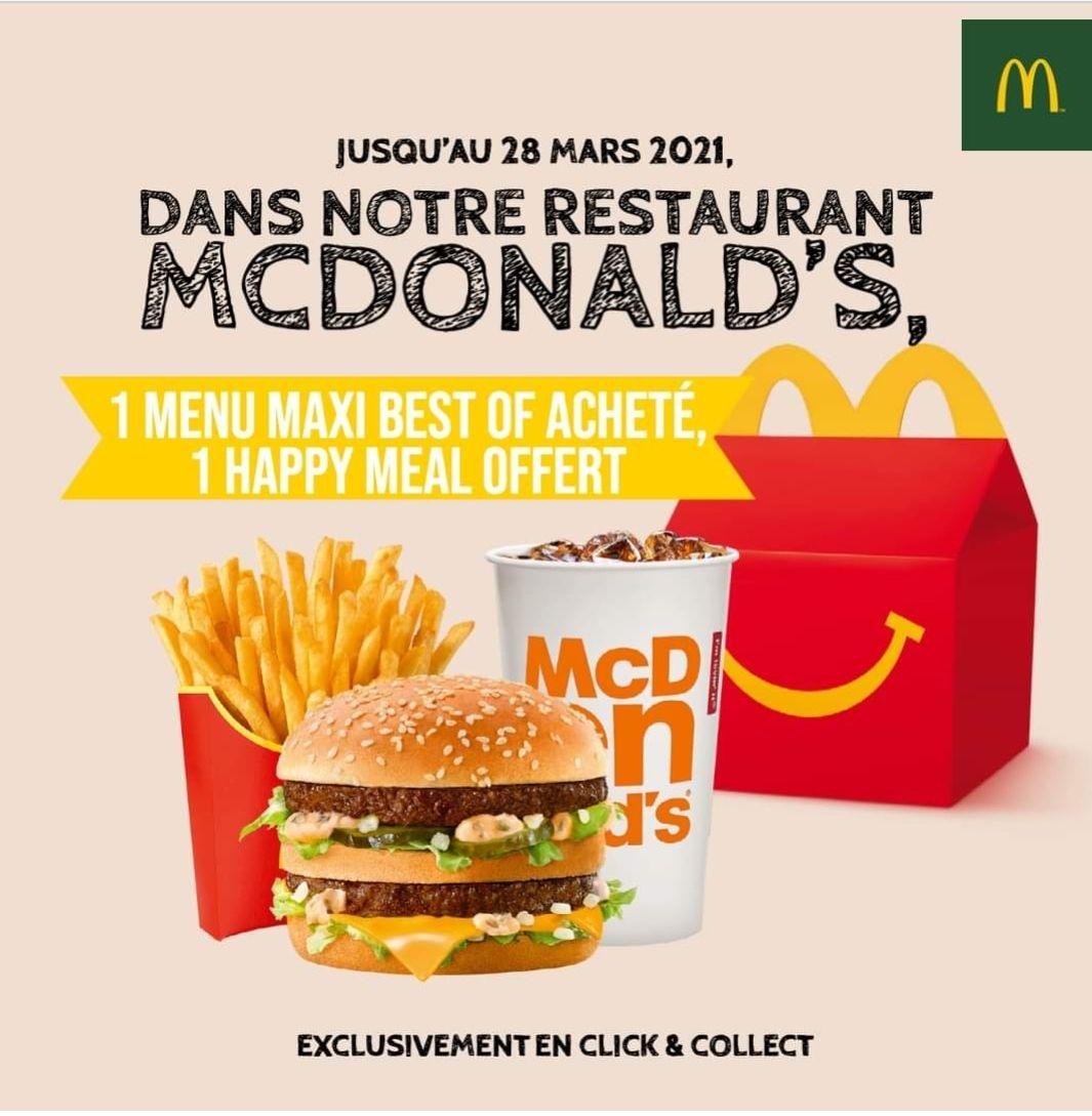 1 Happy Meal offert pour 1 menu Maxi Best Of acheté (en Click and Collect) - Liffré (35)