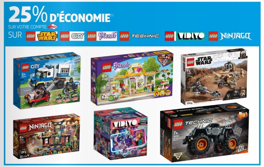 25% credités sur la carte fidélité sur une sélection de jeux de construction Lego ( technic, city, star wars, friends, ninjago, vidiyo )