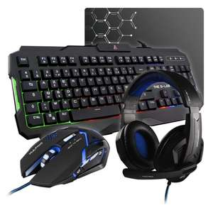 Ensemble The G-LAB Combo Argon : Clavier + Souris + Casque + Tapis de souris