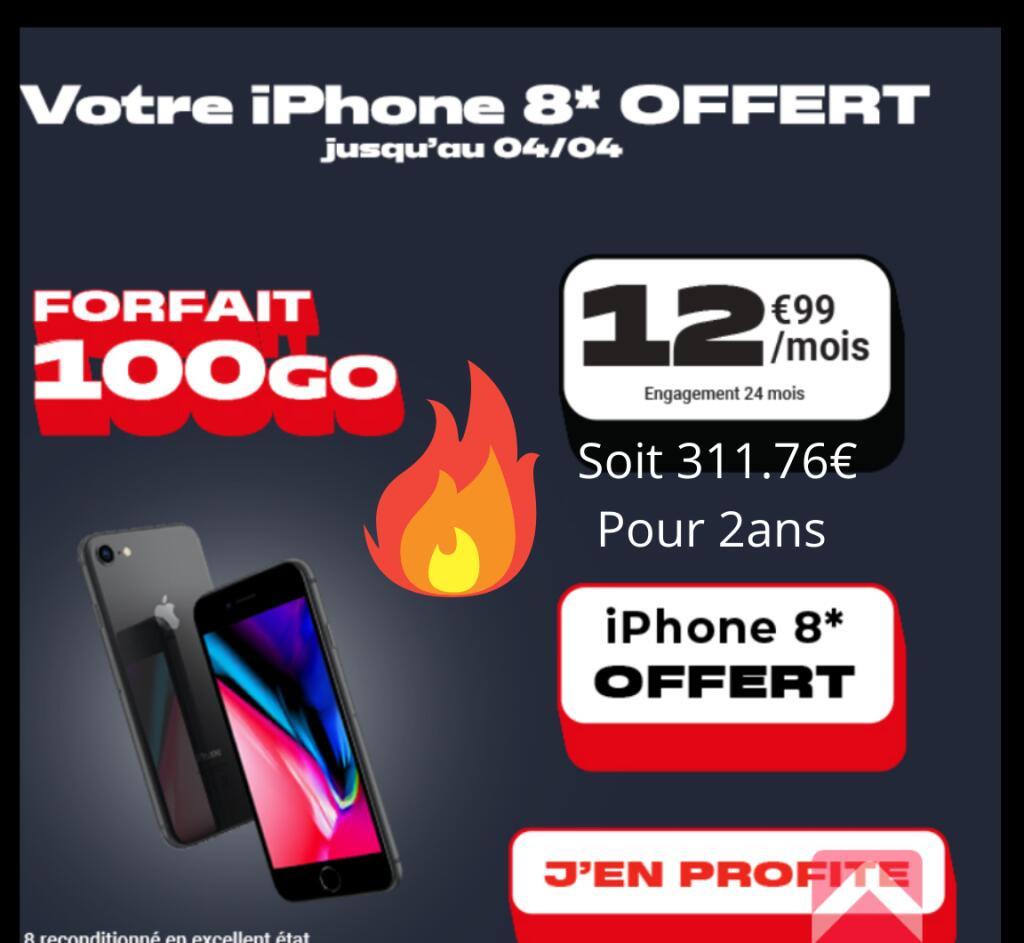 """Smartphone 4.7""""Apple iPhone 8(64 Go, Reconditionné, grade A)+ Forfait NRJ Mobile pendant 24 mois(appels/SMS/MMS Illimités + 100 Go DATA)️️"""
