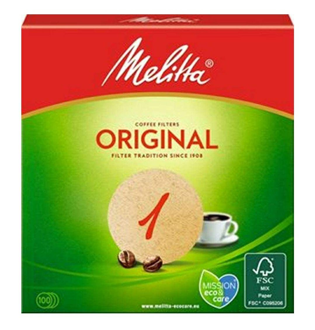 Lot de 5 Packs de 100 filtres à café marron Melitta Original (204335)