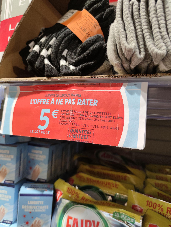 Lot de 15 paires de chaussettes (Plusieurs tailles et coloris) - La Garenne-Colombes (92)