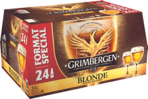 Pack de 24 bières blondes Grimbergen - 24 x 25 cl