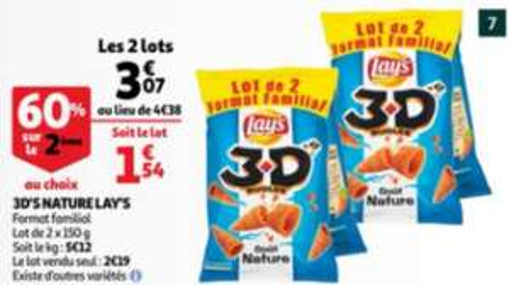 1 paquet-->0,72€   2 Lots de 2 paquets de biscuits apéritifs 3D'S Lay's - 2 x 150 g (plusieurs variétés)