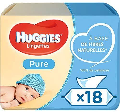 Lot de 18 paquets de lingettes bébé Huggies Pure