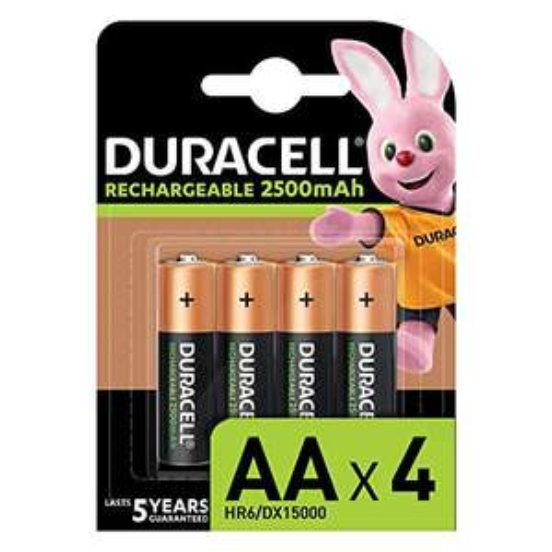 Lot de 4 piles rechargeables AA Duracell - 2500mah