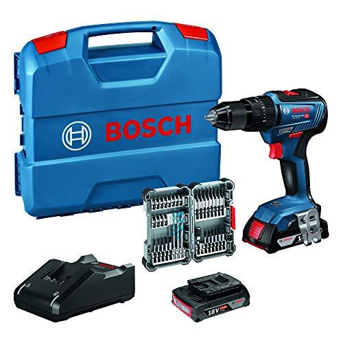 Coffret perceuse-visseuse à percussion sans-fil Bosch Professional GSB 18V-55 - 2 batteries 2.0 Ah + chargeur + jeu d'accessoires 35 pièces