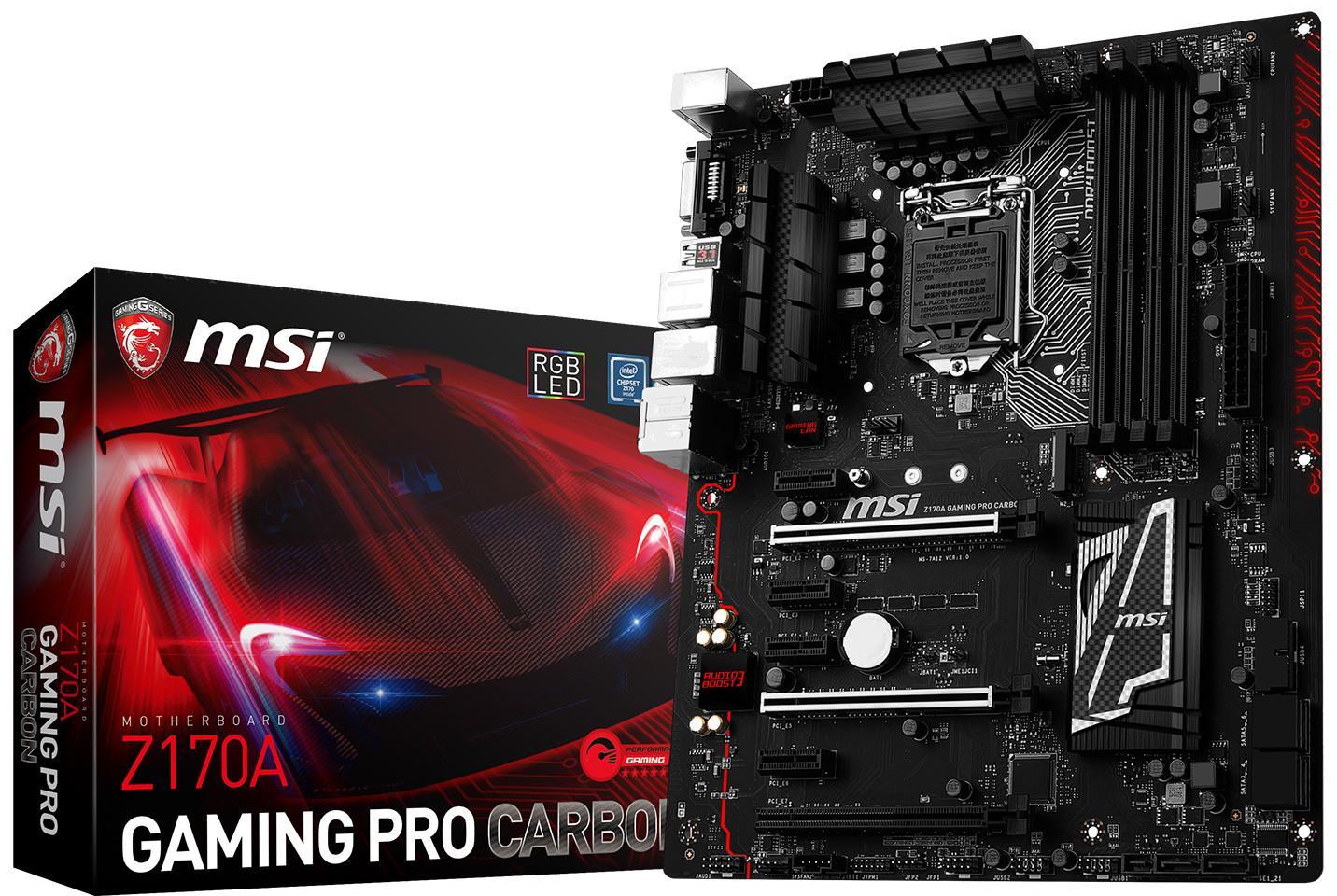 Carte mère MSI Z170A Gaming Pro Carbon - Socket LGA1151 (via ODR 30€)