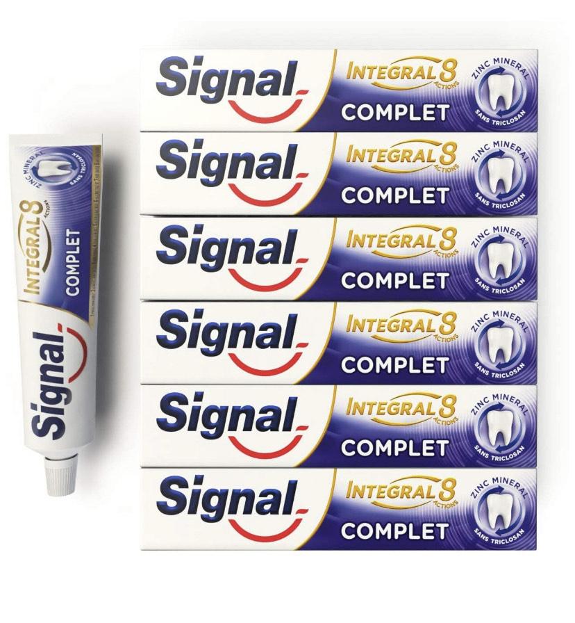 Lot 6 tubes de dentifrice Signal Intégral 8 Complet (6x75mL)