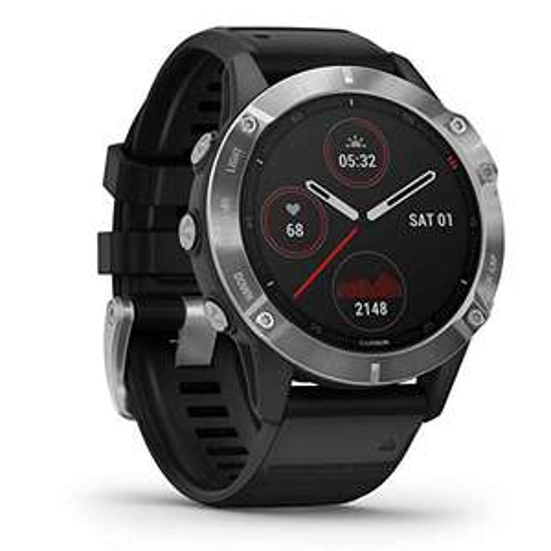 Montre connectée GPS multisports Garmin Fenix 6 - Silver, bracelet noir
