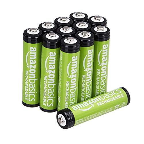 Lot de 12 Piles Rechargeables Amazon Basics - AAA, Pré-Chargées