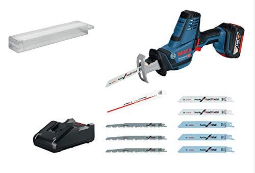 Scie sabre sans-fil Bosch GSA 18V-LI C (1 batterie GBA 18V 5.0 Ah, chargeur rapide GAL 18V-40, 10 lames scie sabre, dans coffret L-BOXX 136)