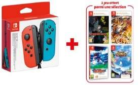 Paire de manettes sans-fil Nintendo Joy-Con (coloris au choix) + 1 jeu au choix (parmi une sélection de 14 jeux) pour Nintendo Switch