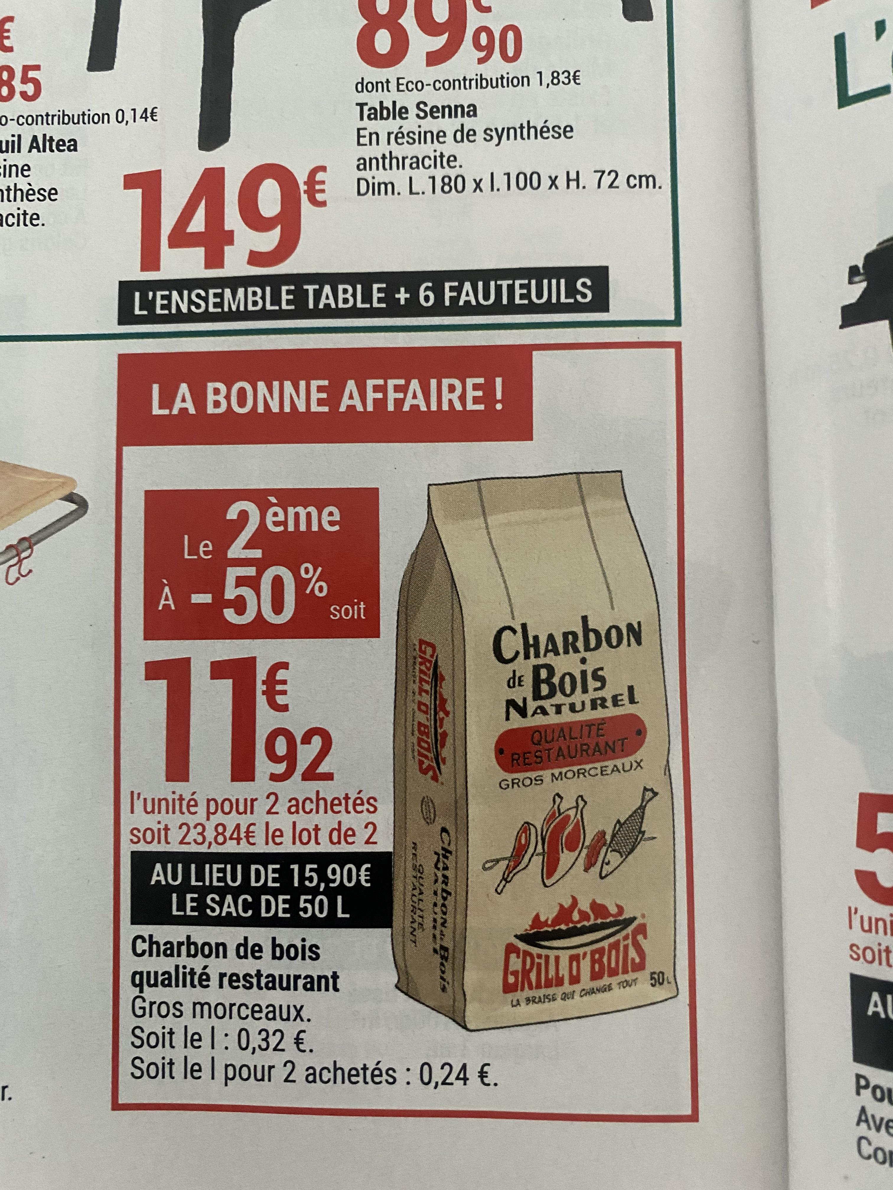 2 sacs Charbon de bois Grill O'Bois, 2 x 50L - Hauts-de-France