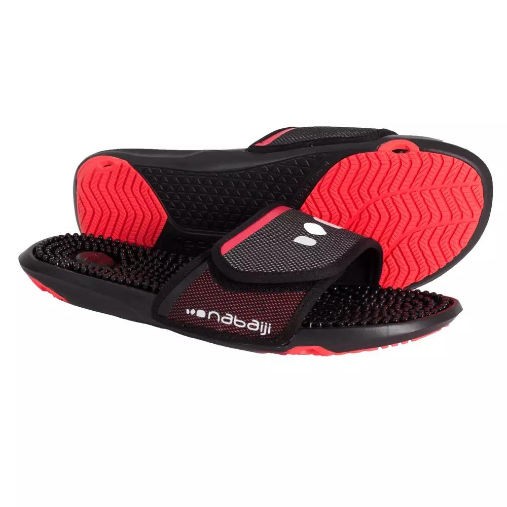 Sandales de piscine Nabaiji Slap 900 - noir/rouge (du 35 au 46)