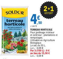 Lot de 3 sacs de terreau horticole - 3x 50L, Utilisable en Agriculture Biologique