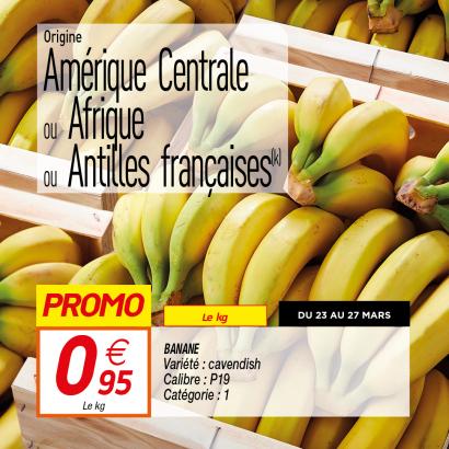 Bananes Cavendish- Catégorie 1, Origine Amérique Centrale ou Afrique ou Antilles françaises (le kilo)