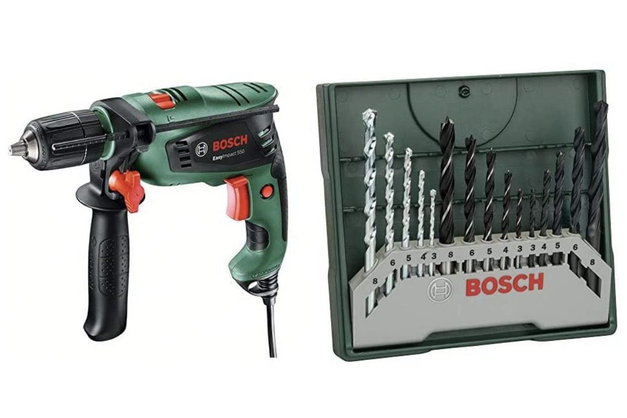 Perceuse à percussion filaire Bosch Easyimpact 550 + Set de 15 forets Bosch Mini-X-Line 2607019675