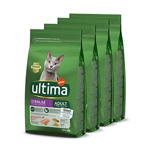 Pack 4 sacs de Croquettes Ultima Stérilisés Adulte au Saumon pour Chat - 6 kg