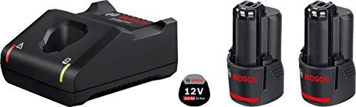 2 Batteries + Chargeur Bosch Professional 12V SystemChargeur de batterie GAL 12V-40 - 2,0 Ah, 12 V, Courant de charge 4A