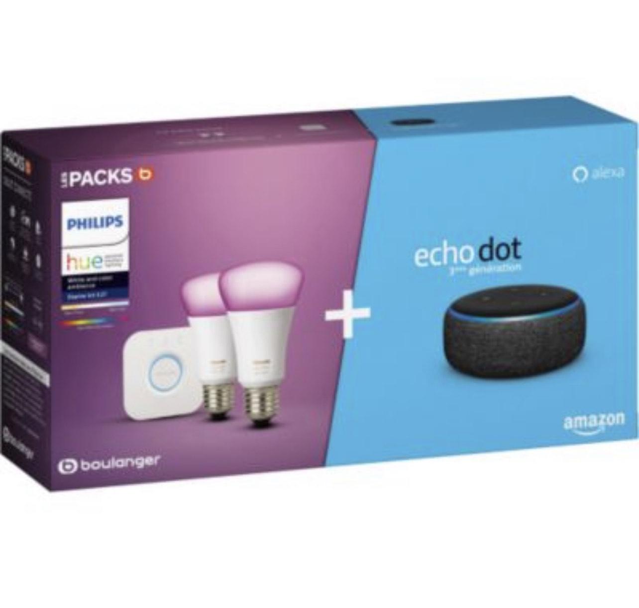Pack de démarrage Philips Hue/Amazon : 2 Ampoules White & Colors + Pont + Echo Dot 3 (+ 4.25€ en RP) - Boulanger
