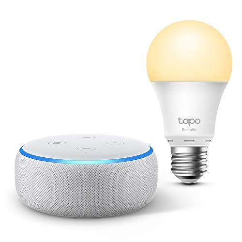 Pack assistant vocal Amazon Echo Dot 3ème génération (avec Alexa) + ampoule connectée LED E27 TP-Link Tapo