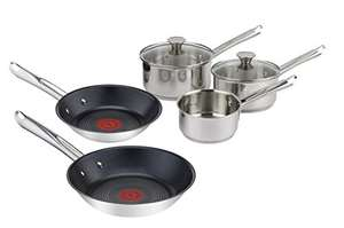 Batterie de cuisine Tefal Elementary (tous feux, induction) - 3 casseroles (14, 16, 18cm) + 2 poêles (20, 24cm) + 2 couvercles (16, 18cm)