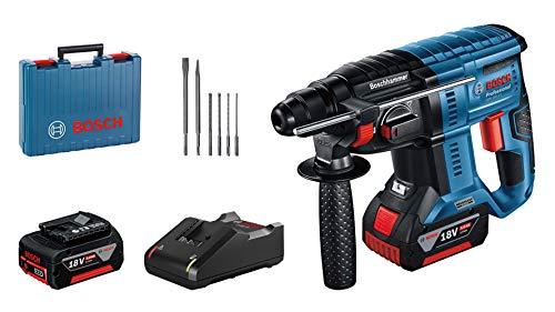 Pack marteau perforateur sans-fil Bosch GBH 18V-21 Professional (18 V) - avec 2 batteries (5.0 Ah) + chargeur