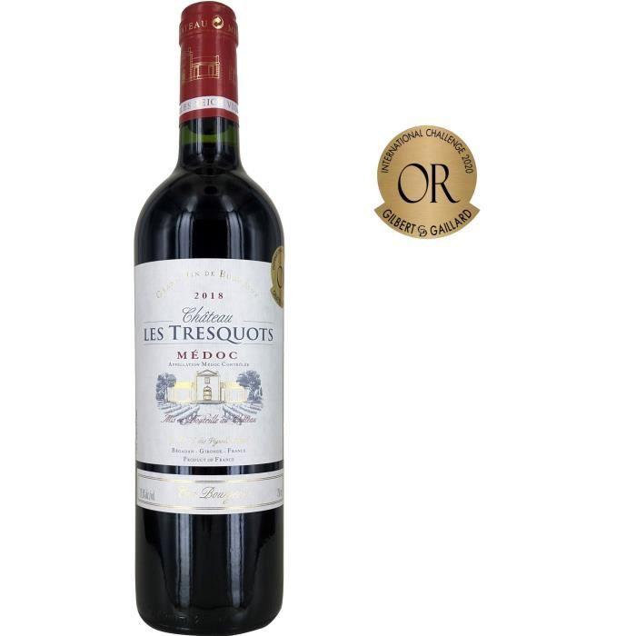 Bouteille de vin rouge Bordeaux Château Les Tresquots Médoc Cru Bourgeois 2018