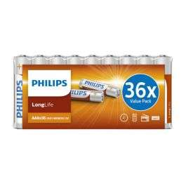 Pack de 36 piles salines AAA Philips LongLife Value Pack