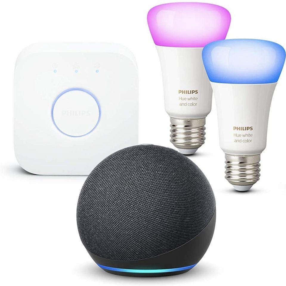 Assistant vocal Echo Dot (4e génération), Anthracite + Kit de démarrage Philips Hue 2 Ampoules Color (E27), Fonctionne avec Alexa