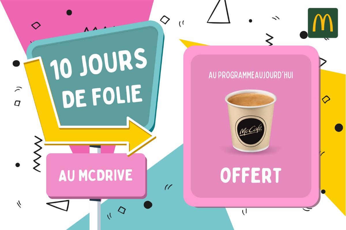 1 café moyen ou 1 expresso offert pour tout passage au McDrive (Brest Kergaradec 29)