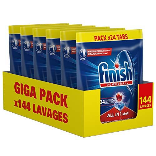 Lot de 6 sachets de 24 tablettes pour lave-vaisselle Finish Powerball All In 1 Max - 144 tablettes