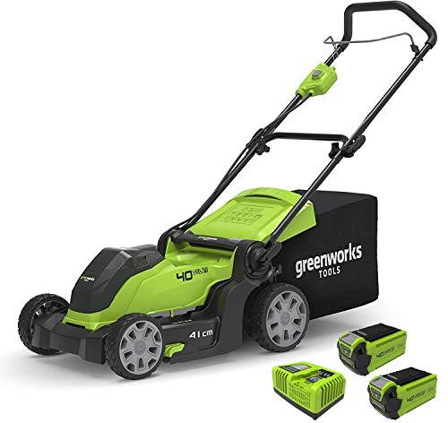 [Prime] Tondeuse à gazon à batterie Greenworks G40LM41K2X 40Volts (avec 2 batteries 2Ah & chargeur rapide)