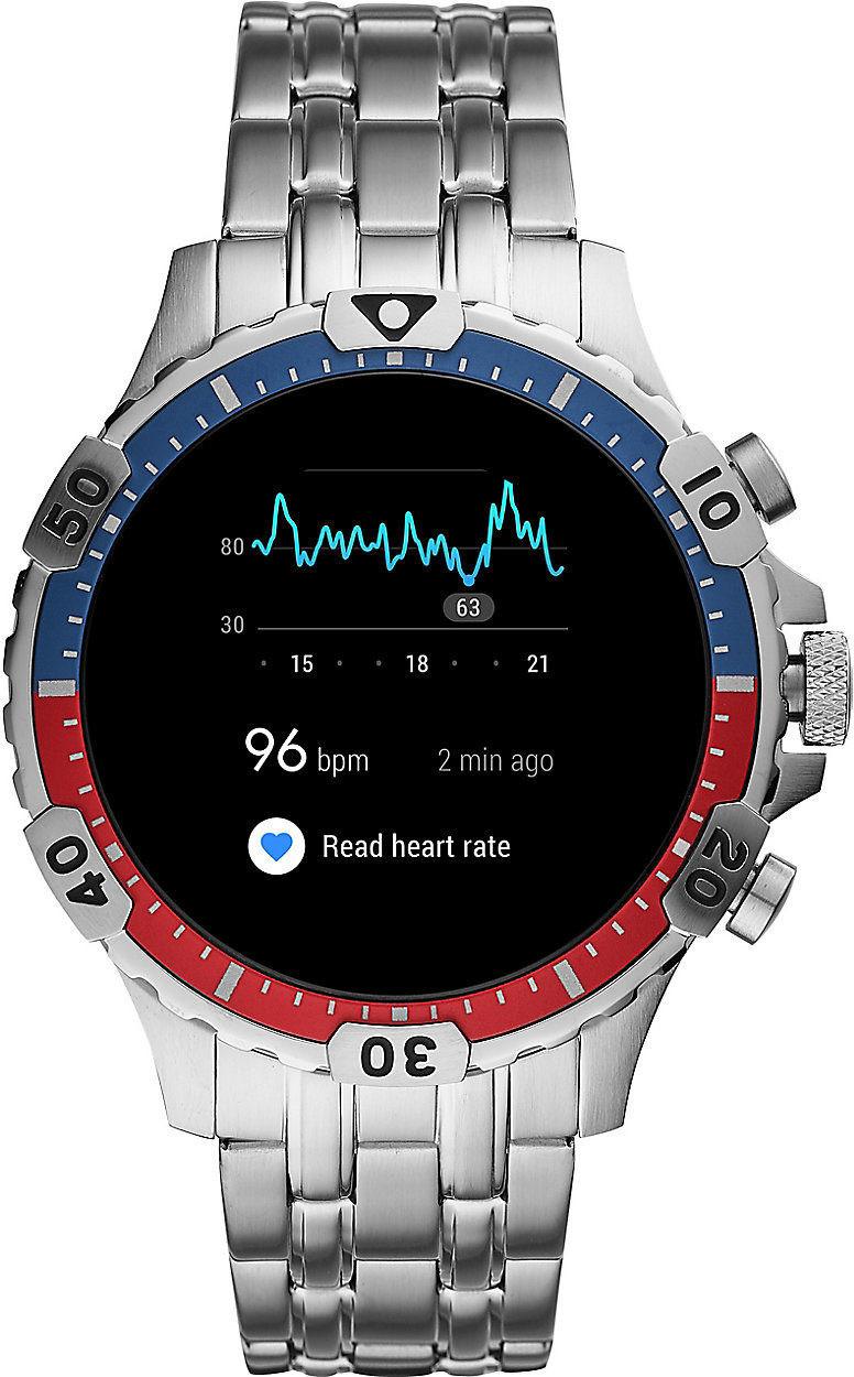 Montre connectée Fossil Garrett HR - bracelet en acier inox, argent