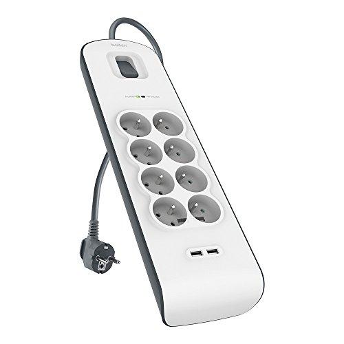 Multiprise/Parafoudre Belkin BSV804ca2M - 8 Prises avec 2 Ports USB, Cordon 2m, Blanc