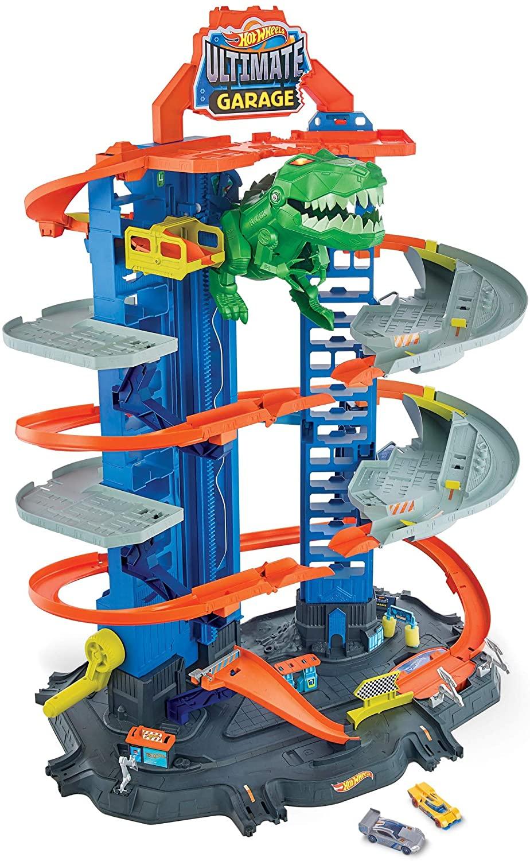 Jouet Hot Wheels City Super Dino Robot Garage avec T-Rex