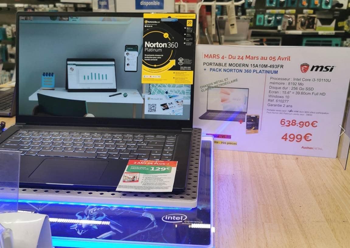 "PC Portable 15.6"" MSI Modern 15 A10M-493FR - i3-1011U, 8 Go de Ram, 256 Go SSD"