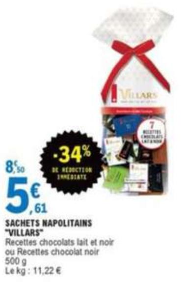 Sachet de chocolats Villars Napolitains - 500g