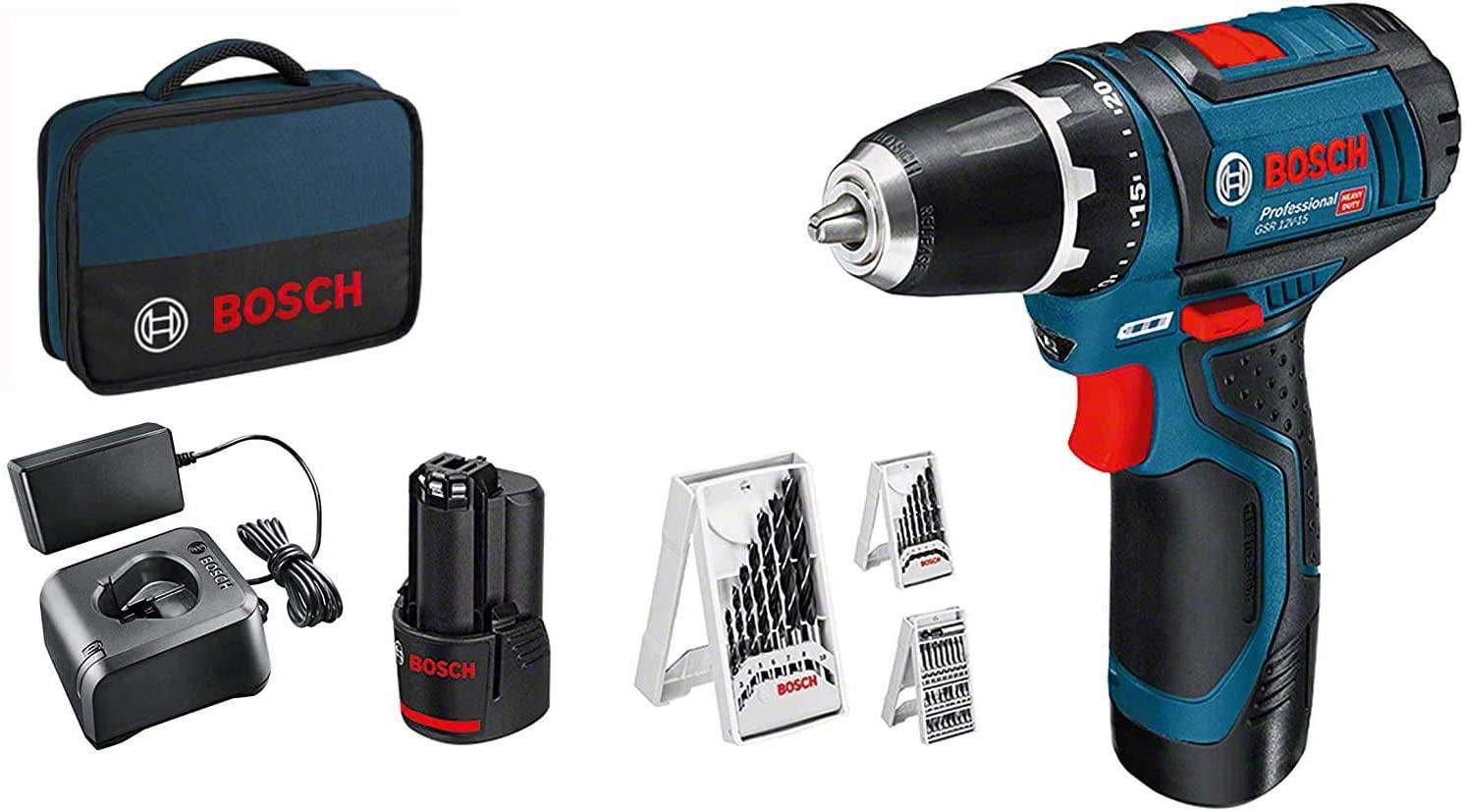 Perceuse-visseuse Sans-fil Bosch Professional GSR 12V-15 - 2 batteries + Pack d'accessoires, Soft bag