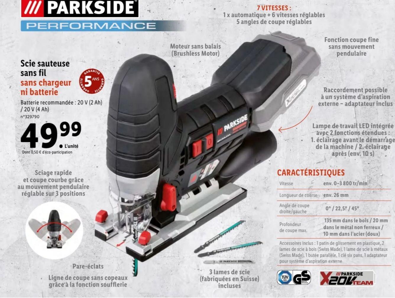 Scie sauteuse sans-fil Parkside Performance - Brushless, 135mm (Sans Chargeur/Batterie)